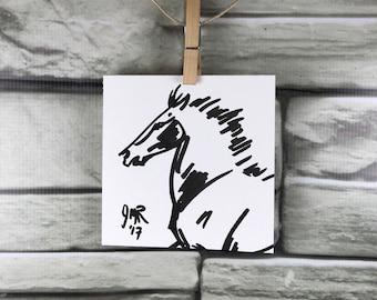 "Horse art original ""Mongolian Horse in Flight"" pen & ink sketch drawing"