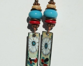 Enameled Copper Earrings Turquoise and deep red
