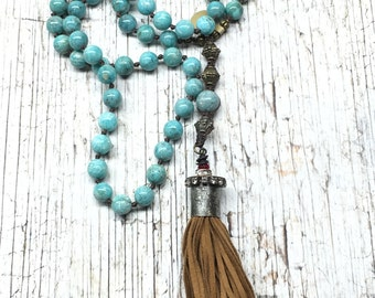 Knotted Tassel Necklace with Suede Tassel