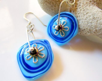 Bright Blue Glass Abstract Disc Earrings, Translucent Blue Two Tone Earrings, Blue Circles  and Silver Flower Earrings, Blue Disc Jewelry