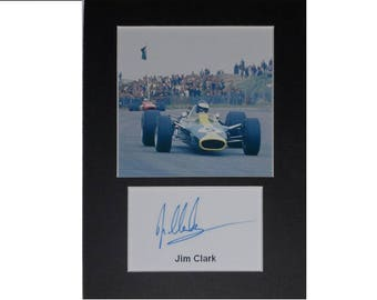 Jim Clark Lotus F1 signed autograph 8x6 inch mounted photo print display