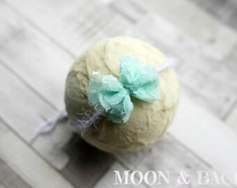 Handmade Mint Lace Bow Tieback Headband Newborn Photo Photography Prop