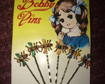 Vintage Bobby Pins - Hand Painted - Made in Korea - Multicolor Bees