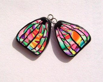Triangle Wings Colorful Charms Handmade Artisan Polymer Clay Pair