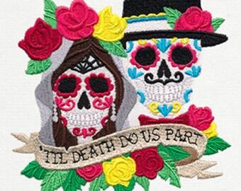 Til Death Do Us Part Dia De Los Muertos Couple Embroidered Flour Sack Hand/Dish Towel