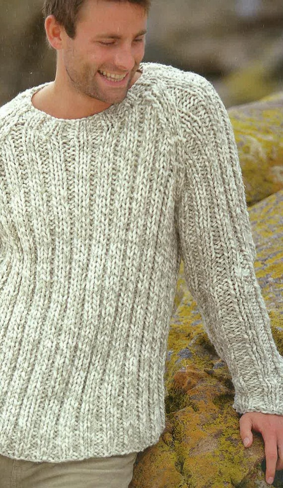 Knitting Pattern Mens Jumper Sweater Jersey 38ins 48ins Pdf