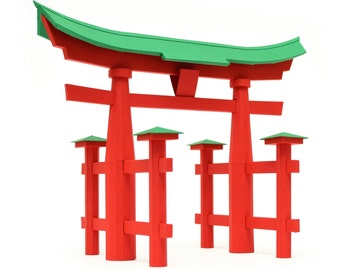 Torii of Itsukushima, assembled paper model || Japanese traditional architecture || height 10 inches 17 cm || bright red and green