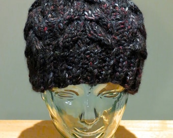 Hand Knit Cable Beanie Hat- Blackstone