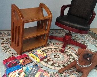 SALE Miniature Book Buggy, Bookshelf, Wood Book Shelf, Dollhouse Miniature, 1:12 Scale, Dollhouse Furniture, Walnut Bookcase