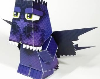 Paper Toy Craft Activity - Tribes Dragon Purple and Green - Super craft gift for girls and boys, makes a great party craft activity