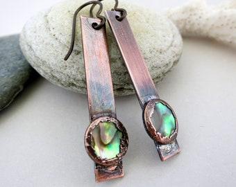 "Abalone Dangle Earrings, Electroformed Copper, Niobium Earwires, 2"" Drop Copper & Paua Shell"