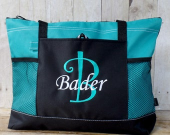 Large monogram tote, mothers day gift, initial name monogrammed tote bag, extra large zipper tote, personalized tote with name