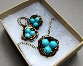 Birds nest necklace and earrings set, baby boys, baby girls, mom, egg nest, robins egg
