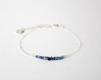 Handmade Simple Sapphire with 925 silver Bracelet, Birth stone for September