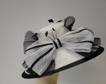 New High Quality White/black WIDE BRIM hat,Kentucky Derby Hat, English Royal Hat, Wedding Hat,Formal Hat, Dressy Hat, Church Hat