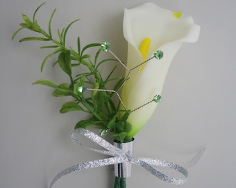 White Calla Real Touch Boutonniere, Mens Wedding Flowers, Groomsmen Lapel Decoration
