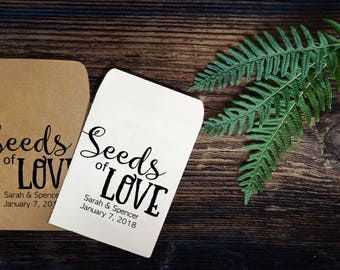 25 Seeds of Love Seed Packets Wedding Favors Handmade Personalized Envelope sold in sets of 25 - Rustic, Baby, Bridal, Shower, Kraft, Custom
