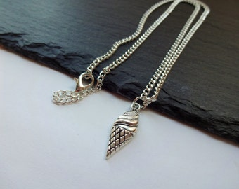 Ice Cream Necklace, Silver Plated Chain, Food Necklace, Ice Cream Cone Necklace
