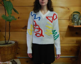 vtg 80s primary color squiggle sweater small
