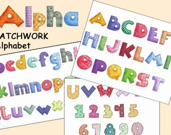 Patchwork Quilt Alphabet and Numbers, Instant Download, Cards, Scrapbook clip art, Journals, alphabet craft supplies, colorful letters