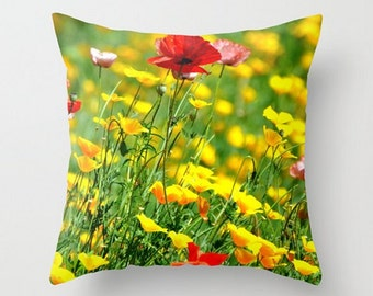 Wild Poppies Throw Pillow Cover, Garden Flower Photography, Pink Poppy, California Poppies Pillow, Floral Home Decor, Cozy Cottage Cushion