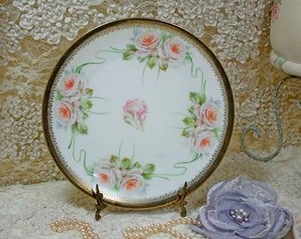 Vintage Handpainted Roses Plate Bavaria