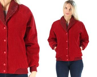 Corduroy Faux Shearling Jacket Vintage 1970s Women Red Jacket Outerwear Short Winter Jacket Button Up Red Coat Raglan Sleeves . Medium