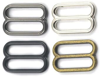 "10 Pcs 1"" 25mm 1.5"" 38mm Widemouth Triglides Webbing Slides Metal Round 4 Leather Strap Buckles"