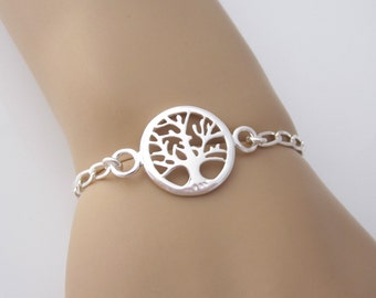 TREE OF LIFE link sterling silver bracelet, Celtic jewelry, organic jewelry, woodland jewelry