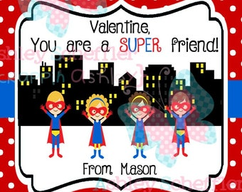 Valentine's Day Tag. Super Hero. Super friend.  Class Valentines. Printable Tag. PDF File.Personalized.Square Tag. Red
