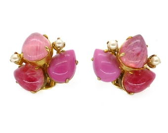 Vintage 1969 Christian Dior Pink Glass Faux Pearl Cluster Clip Earrings