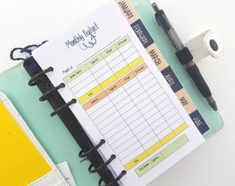Personal size Monthly Budget  printed personal size inserts | finance planner insert | budget planner for medium Kikki personal size filofax