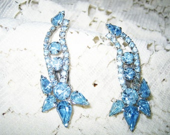 Vtg. Large Blue Rhinestone Clip on Earrings Prong Set
