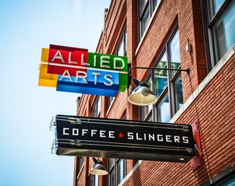 Oklahoma City - Neon Sign - Buildings - Automobile Alley - Architecture - Downtown - Allied Arts and Coffee Slingers