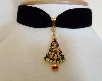 Black Velvet Christmas Tree choker Christmas pendant Rhinestone necklace