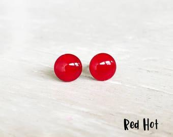 Bright red stud earrings, Small red earrings, Red post earrings, Hypoallergenic earrings, Ruby red studs, Ear Sugar earrings Round Studs