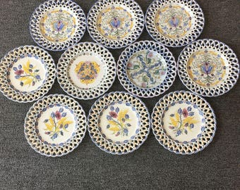 Vintage 10 assorted hand painted Carvalhihno Portugal plates