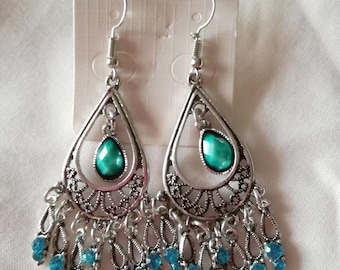 Long Chandelier Bohemian Earrings - Turquoise and strass Teadrops