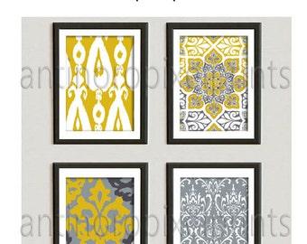 Citrine Mustard Yellow Print Wall Art Prints Vintage / Modern Inspired  - Set includes 4 - 16x20 Prints - Yellow / Grey (UNFRAMED)