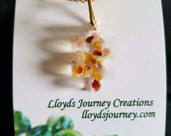 Amber and Pink Tourmaline Puzzle Piece Pendant