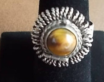Old~Vintage~Sterling Silver~Poison Ring~Pill Box~Locket~Snuff~Ring~Tigers Eye Stone~Ring with secret compartment~Taxco Mexico~925~Size~8.5