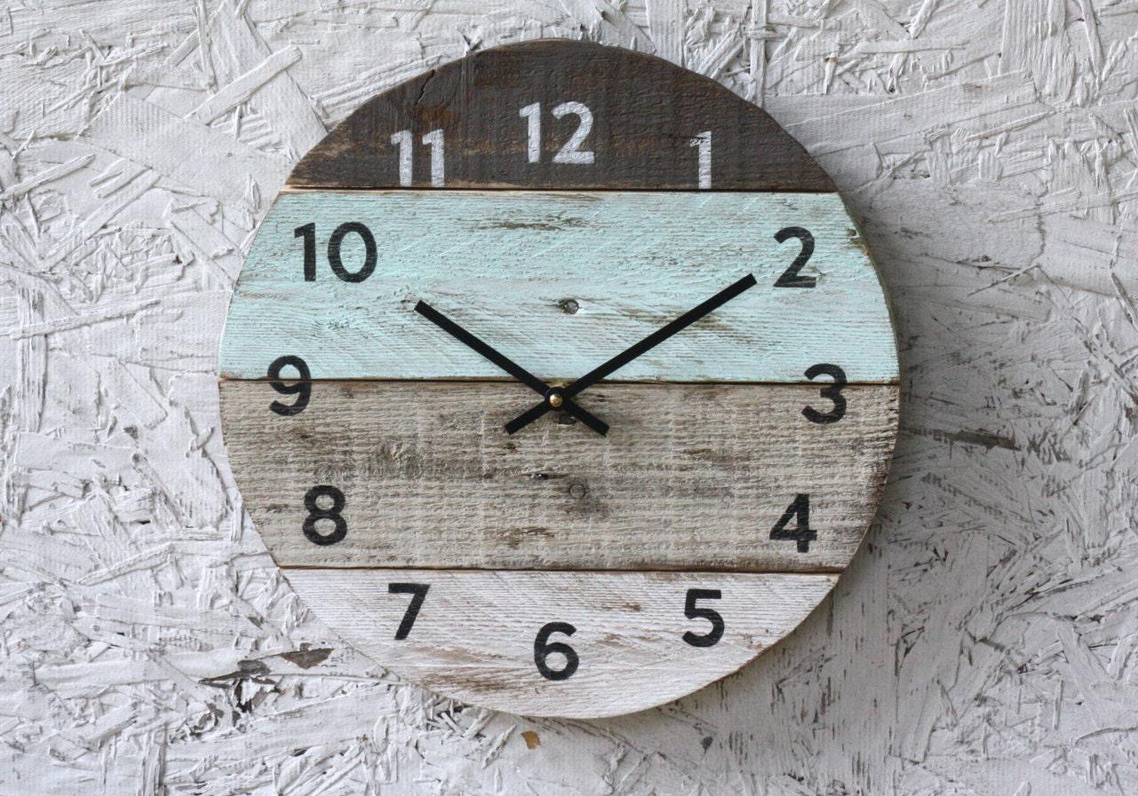 Beach house clock. handmade round clock. reclaimed wood wall