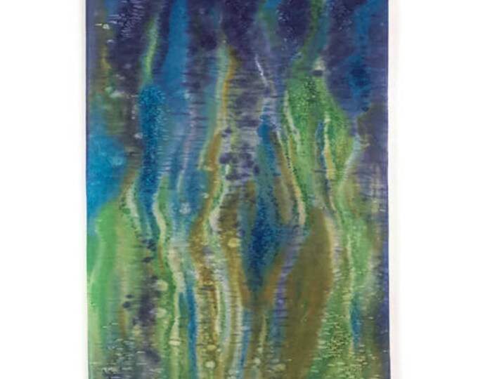 Ocean Painting-Watercolor Silk Tapestry-Green Wall Art-Coastal Decor-Beach Decor-Textile Wall Hanging-Abstract Art-Watercolor Home Decor