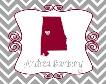 10 Fold Over Chevron Alabama Tide Notecards with Envelopes