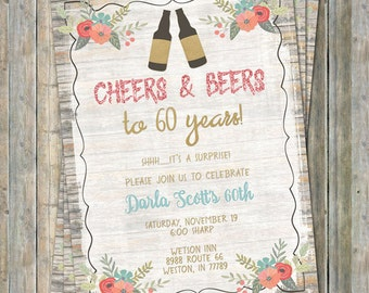 60th Birthday Invitation, Cheers and Beers, Surprise party, Digital Printable File