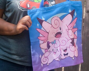 Clefairy Family Zipper Tote Bag