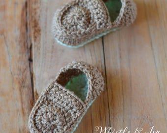 CROCHET PATTERN: Baby Loafer Booties Crochet pdf DOWNLOAD