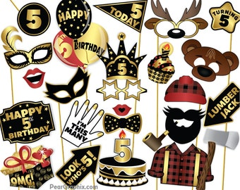 Lumberjack Fifth Birthday Photo Booth Props, 5th Birthday Photo Booth Props, 5th Birthday Girl Boy Photo Props, Black Gold Printable PDF