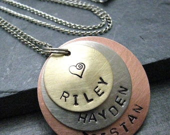 Personalized Necklace 3 Layers, Great for Mom or Dad Customization Available with 9 metal choices, Mom's necklace, Grandmother' gift