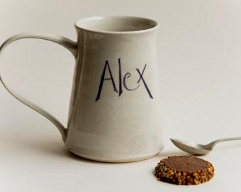 Large named handthrown mug with large handle, personalised gift for him or her, beer mug or tea/coffee mug